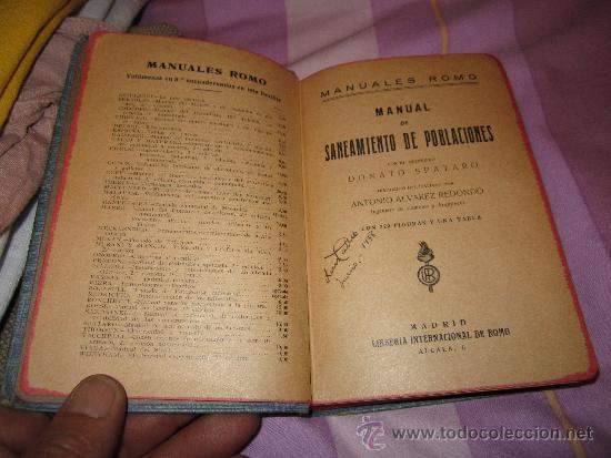 Libros antiguos: Manual de Saneamiento de Poblaciones - Donato Spataro - Manuales Romo - Libreria Internaccional - Foto 2 - 37132556