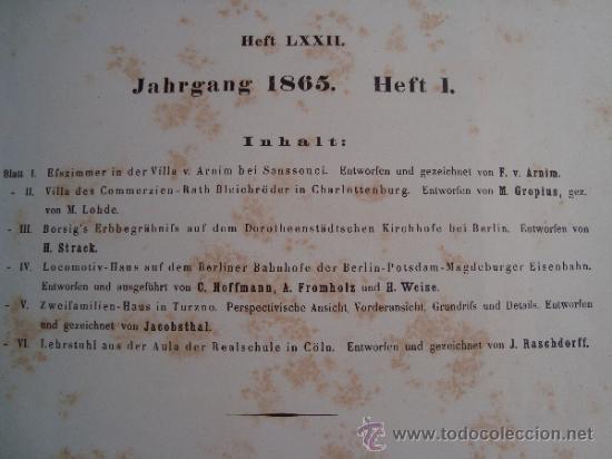 Libros antiguos: 6 GRABADOS DE ARQUITECTURA PUBLICADOS POR Ernst & korn Berlín 1865 - Foto 3 - 37626114
