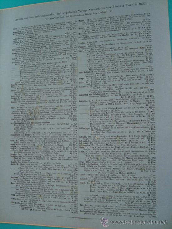 Libros antiguos: 6 GRABADOS DE ARQUITECTURA PUBLICADOS POR Ernst & korn Berlín 1865 - Foto 10 - 37626114
