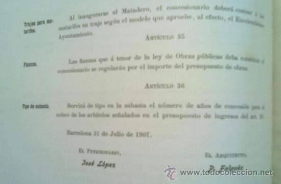 Libros antiguos: PROYECTO DE MERCADO - MATADERO PARA BARCELONA. 1907 PERE FALQUES ARQUITECTO. URBANISMO - Foto 6 - 38533994