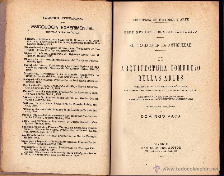 Libros antiguos: EL TRABAJO EN LA ANTIGÜEDAD II. ARQUITECTURA - COMERCIO BELLAS ARTES. RENÉ MENARD Y CLAUDE SAUVAGEOT - Foto 3 - 41108045