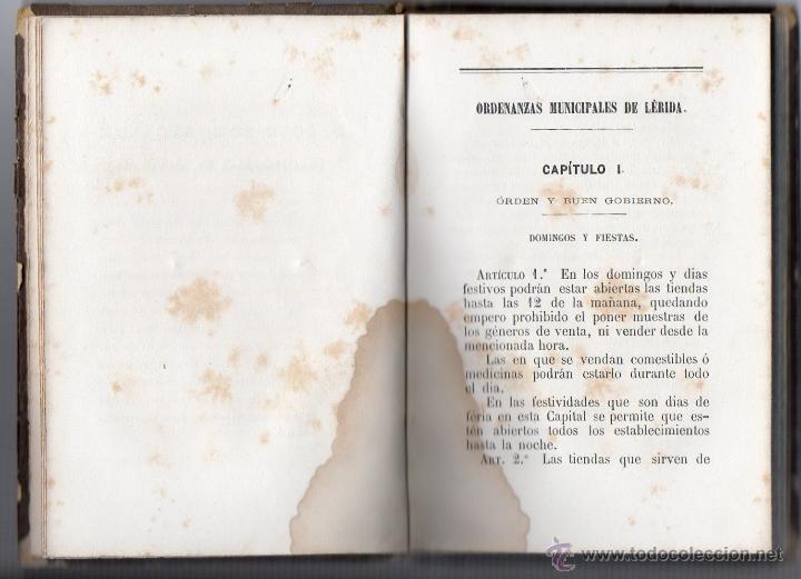 Libros antiguos: ORDENANZAS MUNICIPALES PARA EL RÉGIMEN DE LA CIUDAD DE LÉRIDA (1866). - Foto 4 - 41457562