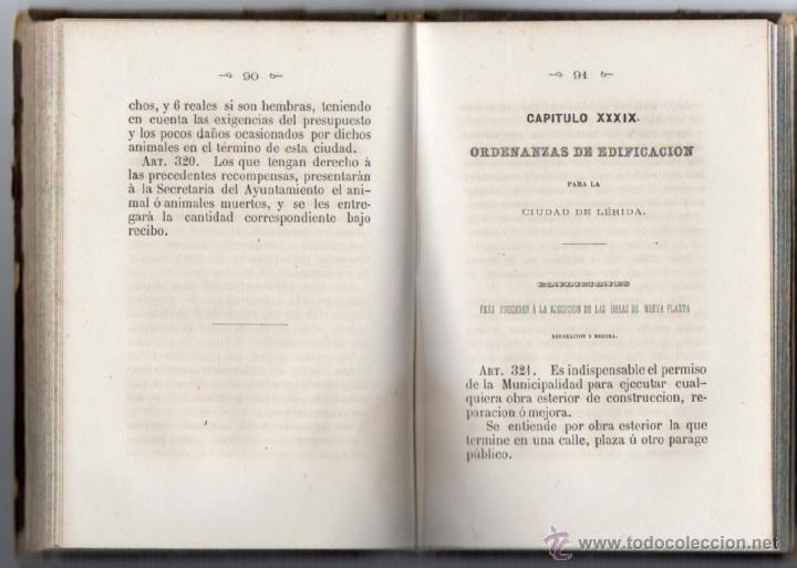 Libros antiguos: ORDENANZAS MUNICIPALES PARA EL RÉGIMEN DE LA CIUDAD DE LÉRIDA (1866). - Foto 7 - 41457562