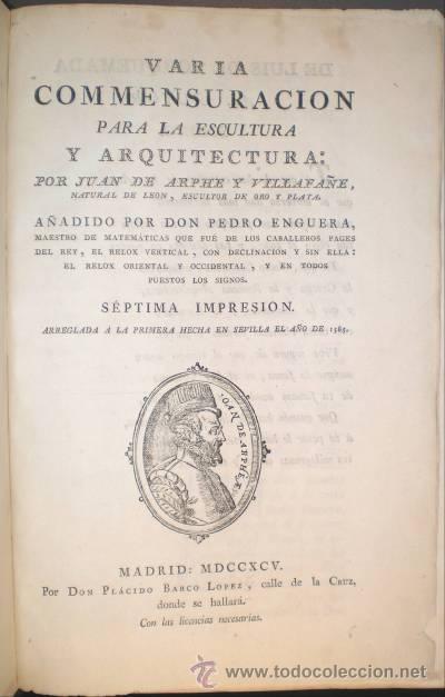 Libros antiguos: ARPHE Y VILLAFAÑE, Juan de: VARIA COMMENSURACION PARA LA ESCULTURA Y ARQUITECTURA. 1795 - Foto 8 - 41460252