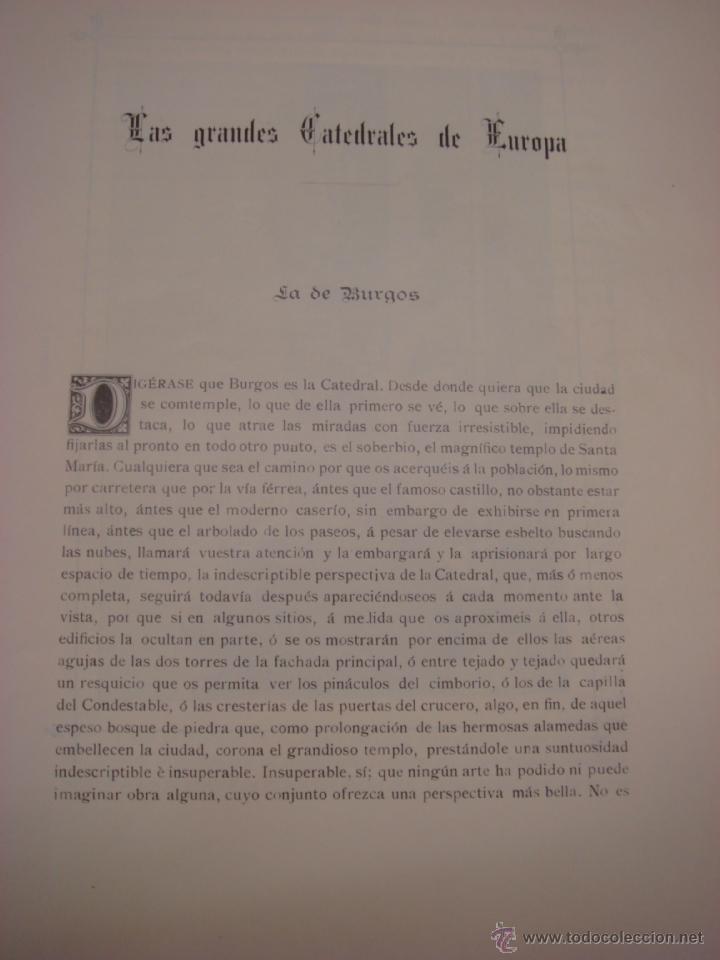 Libros antiguos: LAS GRANDES CATEDRALES DE EUROPA. BURGOS. 1914. DELFIN FERNANDEZ Y GONZALEZ. - Foto 4 - 41642106