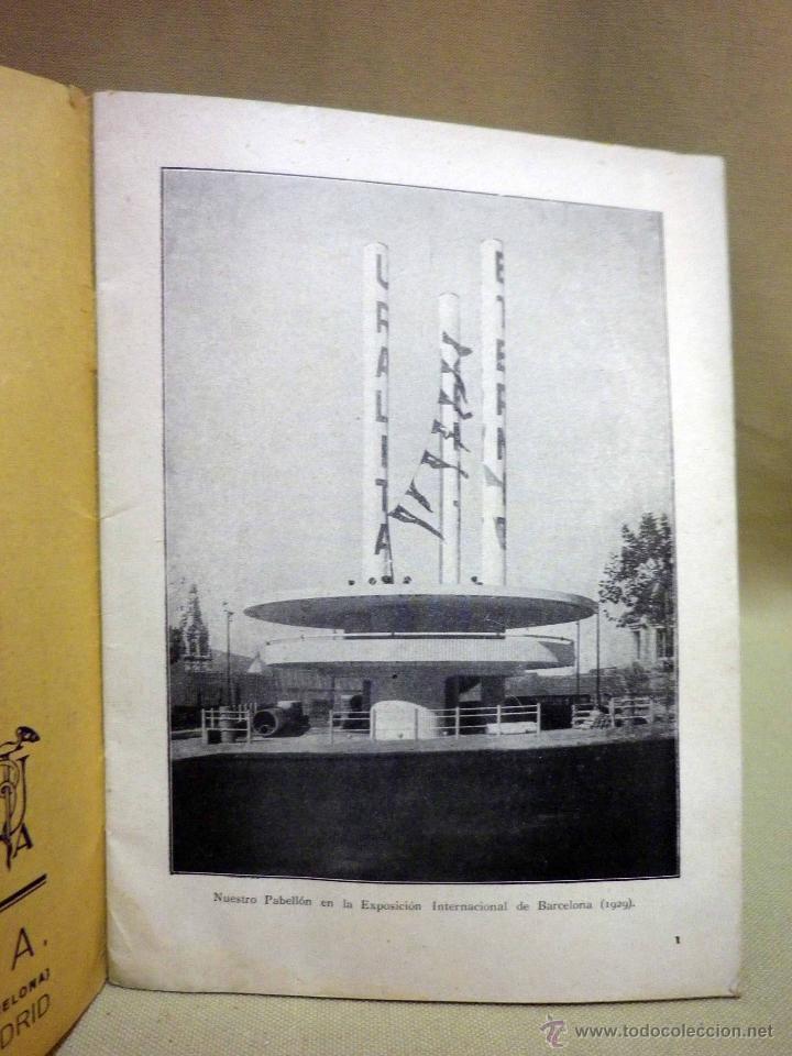 Libros antiguos: LIBRO, URALITA, 45 PAGINAS, 21 X 16 CM, BARCELONA, 1929 - Foto 2 - 44054994