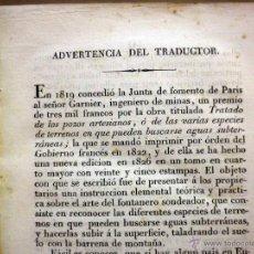 Libros antiguos: RARO LIBRO, TRATADO DE FUENTES ASCENDENTES, GARNIER, BUSQUEDA DE AGUAS SUBTERRANEAS, 1829. Lote 44443502