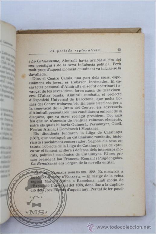 Libros antiguos: Libro en Catalán - Resum d'Historia del Catalanisme, Nº 125 - A Rovira i Virgili - Editorial Barcino - Foto 3 - 45513390