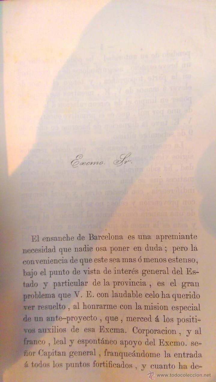 Libros antiguos: EIXAMPLE, MEMORIA DESCRIPTIVA, ANTEPROYECTO DE ENSANCHE, CIUDAD DE BARCELONA, MAPA 1858, MUY RARO - Foto 3 - 47070772