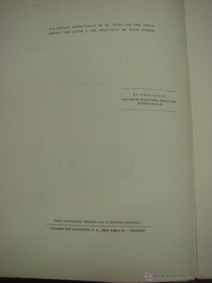 Libros antiguos: LA CASA POPULAR EN ESPAÑA. 1930. 1ª Edicion. Fernando Garcia Mercadal - Foto 5 - 32111767