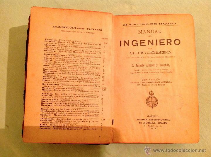 Libros antiguos: Manual del ingeniero G. Colombo 1917 Madrid - Foto 2 - 50058951