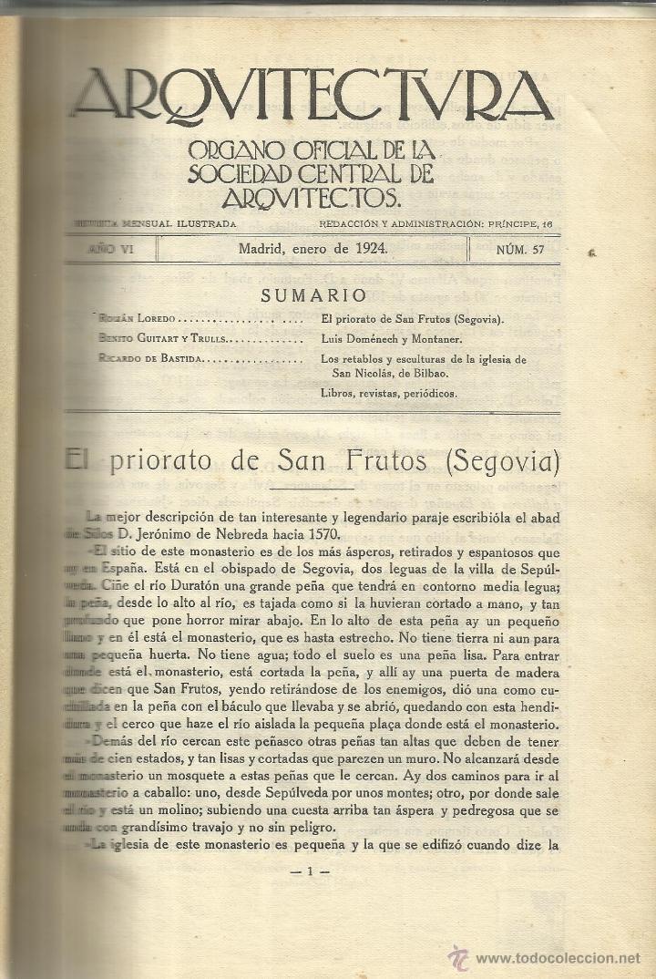 ARQUITECTURA. ÓRGANO OFICIAL DE LA SOC. CENTRAL DE ARQUITECTOS. COLECCIÓN DE REVISTAS. MADRID. 1924 (Libros Antiguos, Raros y Curiosos - Bellas artes, ocio y coleccion - Arquitectura)