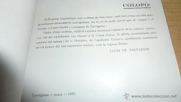 Libros antiguos: libro passeig arqueologic tarragona arqueologia . imp torres i virgili fotos , tarraco 1935 - Foto 5 - 51652972