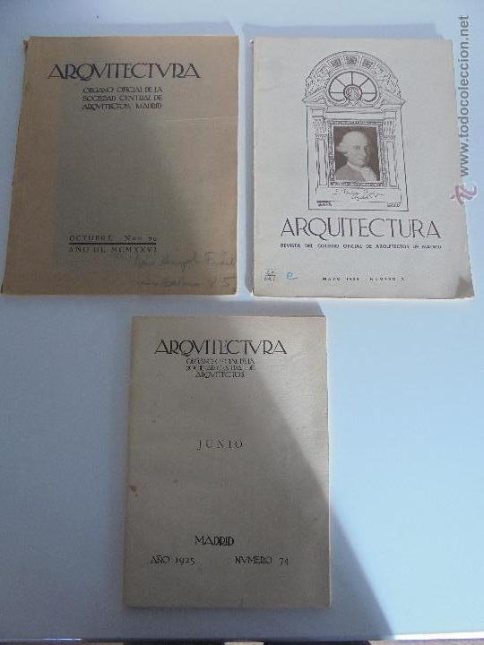 ARQUITECTURA ORGANO OFICIAL DE LA SOCIEDAD CENTRAL DE ARQUITECTOS DE MADRID.VER FOGRAFIAS. 3 REVISTA (Libros Antiguos, Raros y Curiosos - Bellas artes, ocio y coleccion - Arquitectura)