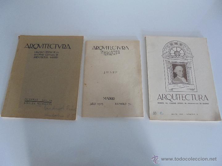 Libros antiguos: ARQUITECTURA ORGANO OFICIAL DE LA SOCIEDAD CENTRAL DE ARQUITECTOS DE MADRID.VER FOGRAFIAS. 3 REVISTA - Foto 2 - 51690313
