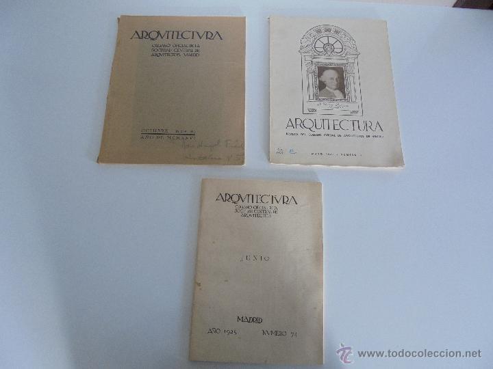 Libros antiguos: ARQUITECTURA ORGANO OFICIAL DE LA SOCIEDAD CENTRAL DE ARQUITECTOS DE MADRID.VER FOGRAFIAS. 3 REVISTA - Foto 3 - 51690313