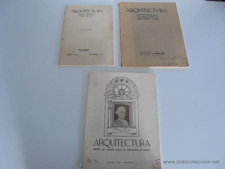 Libros antiguos: ARQUITECTURA ORGANO OFICIAL DE LA SOCIEDAD CENTRAL DE ARQUITECTOS DE MADRID.VER FOGRAFIAS. 3 REVISTA - Foto 4 - 51690313
