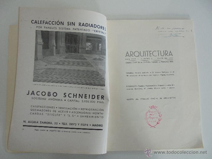 Libros antiguos: ARQUITECTURA ORGANO OFICIAL DE LA SOCIEDAD CENTRAL DE ARQUITECTOS DE MADRID.VER FOGRAFIAS. 3 REVISTA - Foto 9 - 51690313