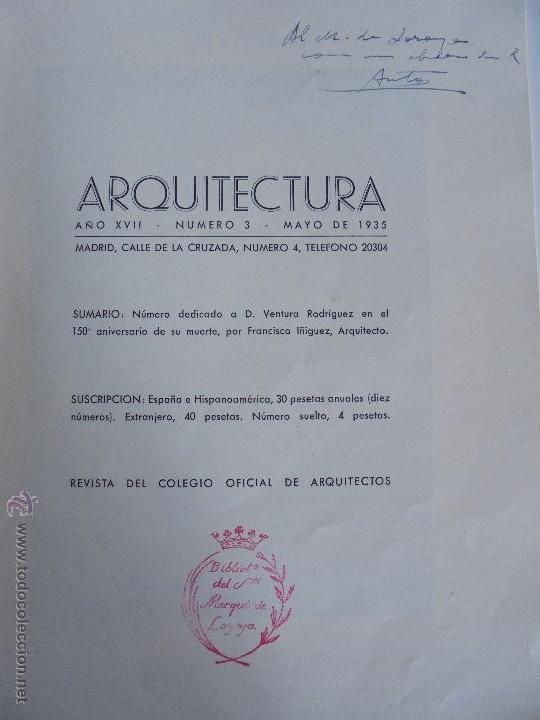 Libros antiguos: ARQUITECTURA ORGANO OFICIAL DE LA SOCIEDAD CENTRAL DE ARQUITECTOS DE MADRID.VER FOGRAFIAS. 3 REVISTA - Foto 13 - 51690313