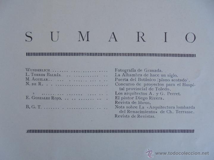 Libros antiguos: ARQUITECTURA ORGANO OFICIAL DE LA SOCIEDAD CENTRAL DE ARQUITECTOS DE MADRID.VER FOGRAFIAS. 3 REVISTA - Foto 25 - 51690313