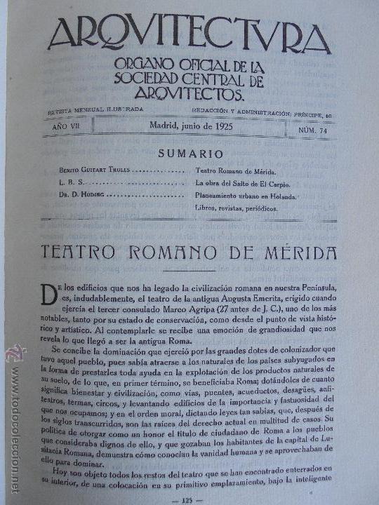 Libros antiguos: ARQUITECTURA ORGANO OFICIAL DE LA SOCIEDAD CENTRAL DE ARQUITECTOS DE MADRID.VER FOGRAFIAS. 3 REVISTA - Foto 40 - 51690313