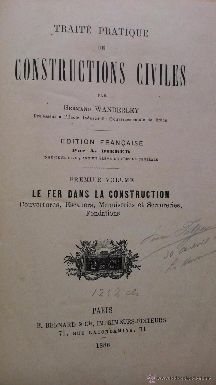 Libros antiguos: Traité pratique de constructions civiles - Foto 2 - 53854142