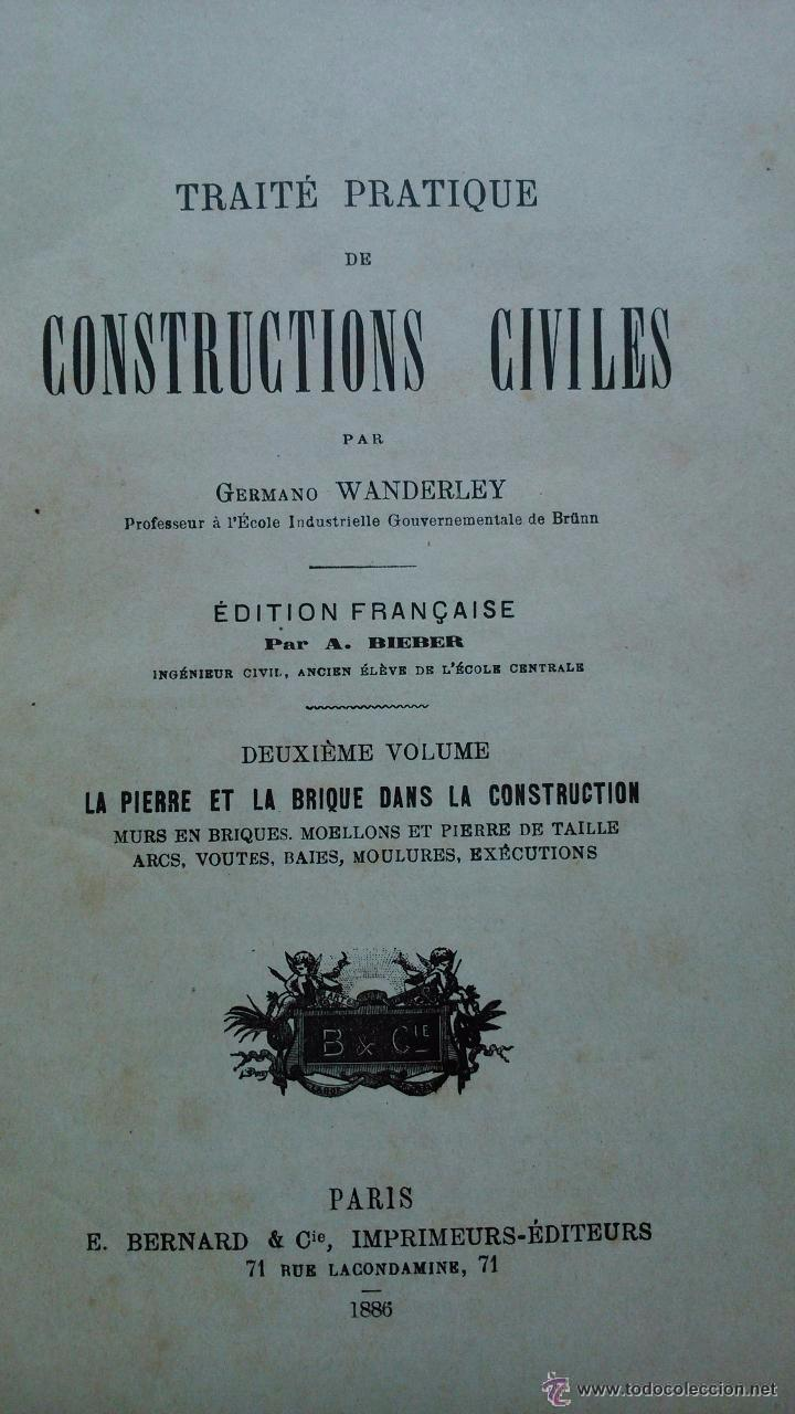 Libros antiguos: Traité pratique de constructions civiles - Foto 4 - 53854142