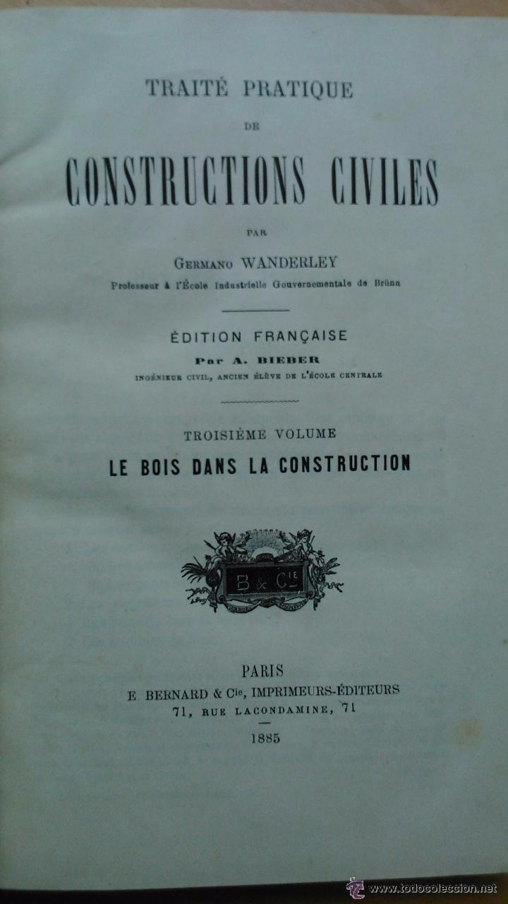 Libros antiguos: Traité pratique de constructions civiles - Foto 6 - 53854142