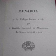Libros antiguos: MEMORIA DE LOS TRABAJOS LLEVADOS A CABO POR LA COMISION PROVINCIAL DE MONUMENTOS DE GERONA 1928 Y 29. Lote 54890755