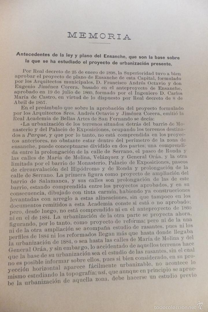 Libros antiguos: Emilio Alba Proyecto Urbanización Ensanche Villa y Corte ,con plano. Ayuntamiento Madrid 1917 - Foto 5 - 56334969