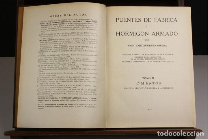 Libros antiguos: 8170 - PUENTES DE FÁBRICA Y HORMIGÓN ARMADO. TOMOS I Y II(VER DESCRIP). RIBERA. 1925/30. - Foto 6 - 66440222