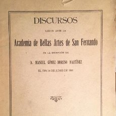 Libros antiguos: MANUEL GÓMEZ-MORENO: SOBRE EL ARTE MODERNO Y LA ARQUITECTURA. (1931). ACADEMIA DE BELLAS ARTES. Lote 113448635