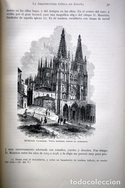 Libros antiguos: LA ARQUITECTURA GOTICA EN ESPAÑA - STREET - con GRABADOS - Foto 3 - 73716475