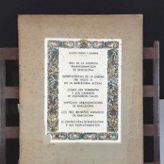 Libros antiguos: AGUSTÍN DURAN Y SANPERE. IDEA DE LA SUCESIVA TRANSFORMACIÓN DE BARCELONA (VER DESCRIPCIÓN). S/F.. Lote 79764729