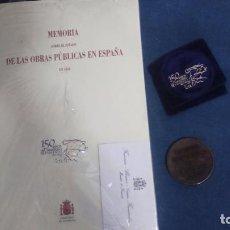 Libros antiguos: MEMORIA ESTADO OBRAS PÚBLICAS EN ESPAÑA 1856. FACSIMIL, MEDALLA Y TARJETA. Lote 84004988