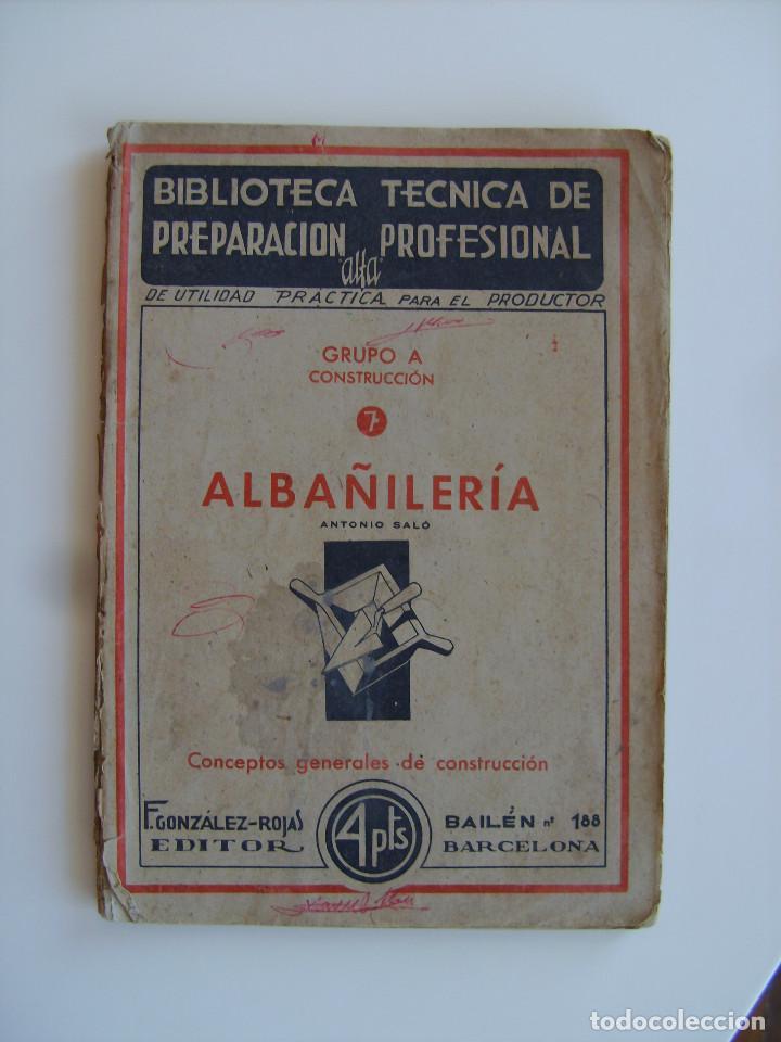 Libros antiguos: Lote de tres libros de construcción, mármoles, albañilería, yesos y estucos. - Foto 2 - 89190988