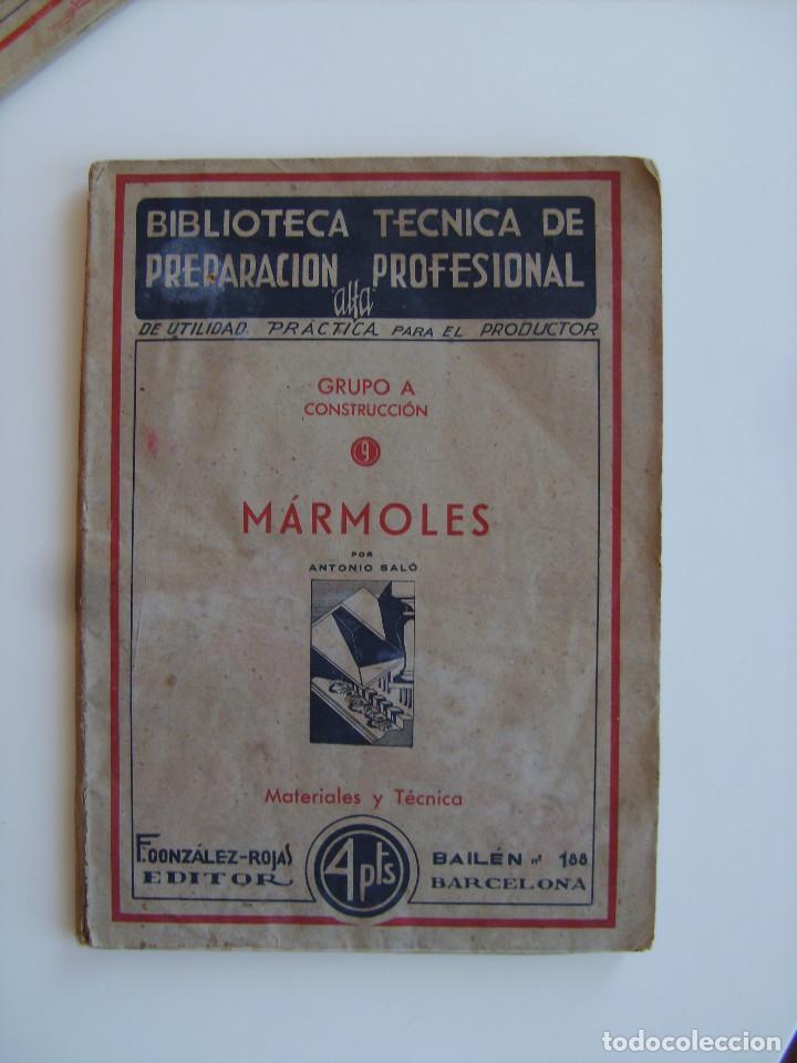 Libros antiguos: Lote de tres libros de construcción, mármoles, albañilería, yesos y estucos. - Foto 3 - 89190988
