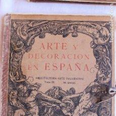Libros antiguos: ARTE Y DECORACION ES ESPAÑA, ARQUITECTURA ARTE DECORATIVO, TOMO IX, CASELLAS MONCANUT EDITOR. Lote 93175320
