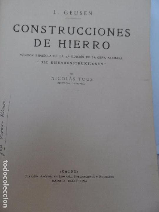 CONSTRUCCIONES DE HIERRO DE L. GEUSEN AÑO 1926 (Libros Antiguos, Raros y Curiosos - Bellas artes, ocio y coleccion - Arquitectura)