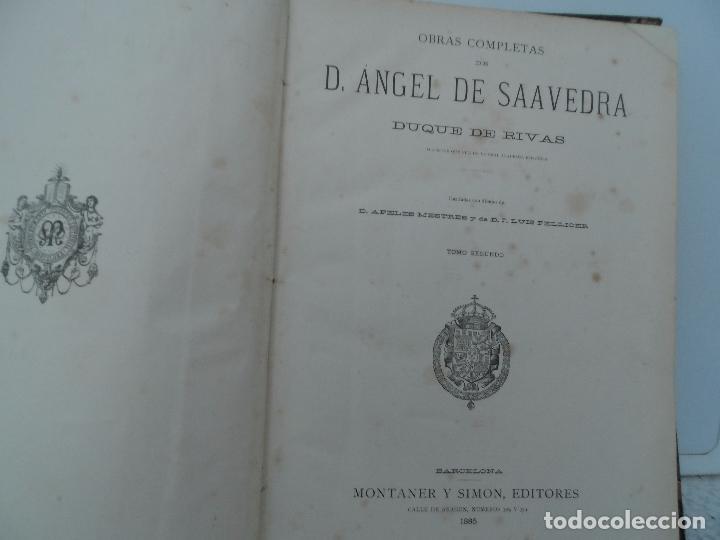 Libros antiguos: OBRAS COMPLETAS DEL DUQUE DE RIVAS DOS TOMOS DE 1885 - Foto 8 - 102298135