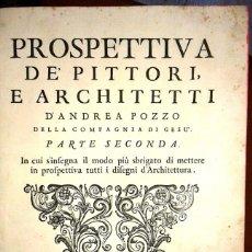 Libros antiguos: PROSPETTIVA DE PITTORI E ARCHITETTI DE ANDREA POZZO, AÑO 1737 (ARQUITECTURA). Lote 103296391