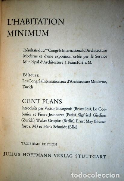 Libros antiguos: L'HABITATION MINIMUM - Le Corbusier / Bourgeois / Giedion / Gropius - 1933 - Foto 14 - 107648107