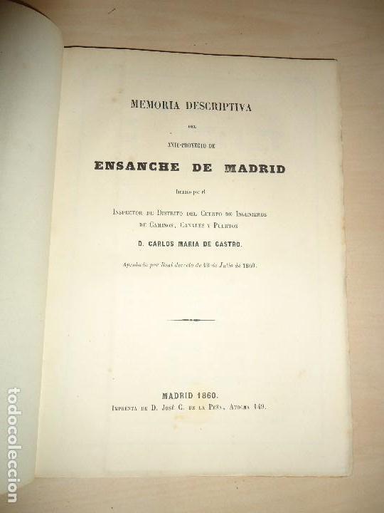 Libros antiguos: Memoria descriptiva del ante-proyecto de ensanche de Madrid - Carlos María de Castro - 1860 - Foto 2 - 109477595