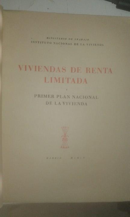Libros antiguos: Viviendas de Renta Limitada y Primer Plan Nacional de Vivienda (1955) - Foto 2 - 109371499