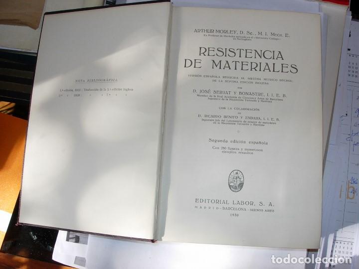Libros antiguos: RESISTENCIA DE MATERIALES de Arthur MORLEY - Foto 2 - 111281571