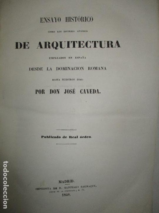 ENSAYO HISTÓRICO SOBRE LOS DIVERSOS GÉNEROS DE ARQUITECTURA...CAVEDA, JOSÉ. 1848. (Libros Antiguos, Raros y Curiosos - Bellas artes, ocio y coleccion - Arquitectura)