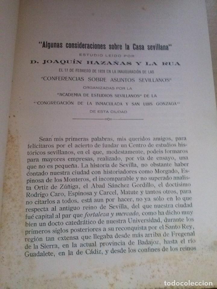 Libros antiguos: la casa sevillana conferencia de don joaquin hazañas 1930 original - Foto 2 - 126703095