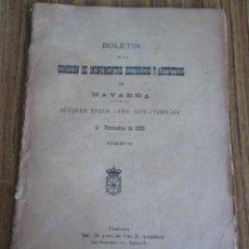 Libros antiguos: BOLETÍN DE LA COMISIÓN DE MONUMENTOS HISTÓRICOS Y ARTÍSTICOS DE NAVARRA SEGUNDA ÉPOCA – AÑO 1923 TOM. Lote 136054998