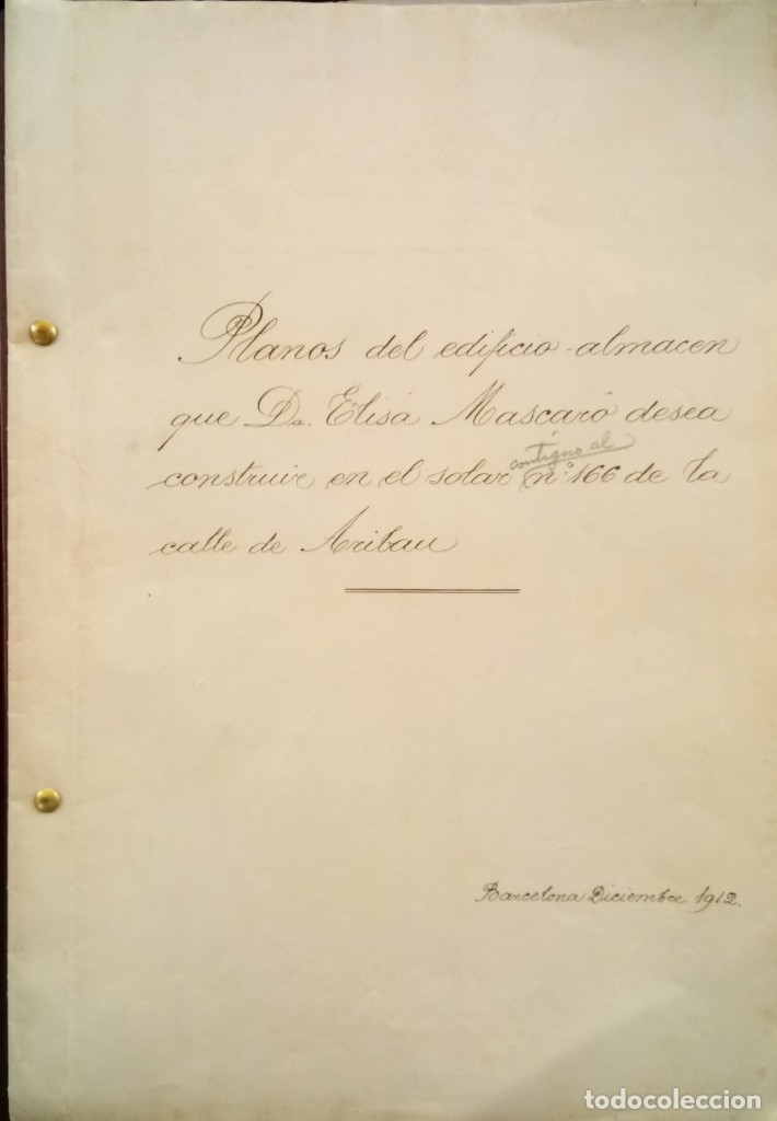 Libros antiguos: ARQUITECTURA MODERNISTA,PLANO ORIGINAL,ARQUITECTO,JOAQUIM BASSEGODA ,1912,FIRMADO,EPOCA ANTONI GAUDI - Foto 3 - 136201670