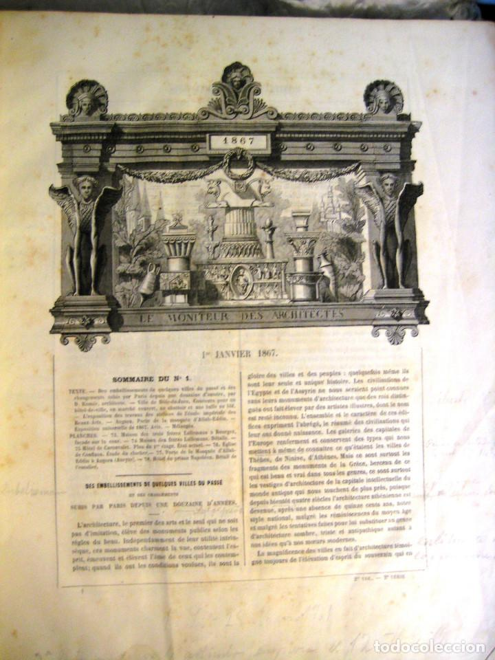 Libros antiguos: LE MONITEUR DES ARCHITECTES- 1867 (arquitectura- en frances) - Foto 3 - 138384282